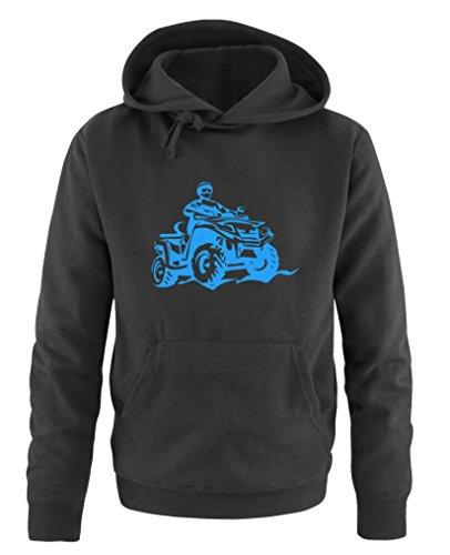 Comedy Shirts - Quad ATV - Herren Hoodie - Schwarz / Blau Gr. XL