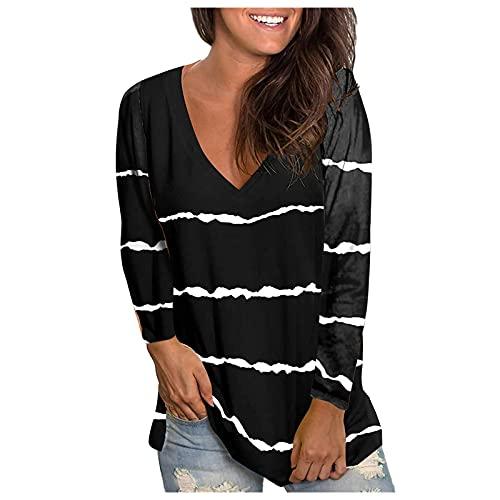 Camiseta Estampada de Rayas con Cuello En V para Mujer Blusa de Manga Larga con Abertura Lateral