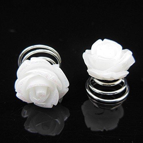 Miya Set di 4 fermagli bianchi per capelli, a spirale, rose, per sposa