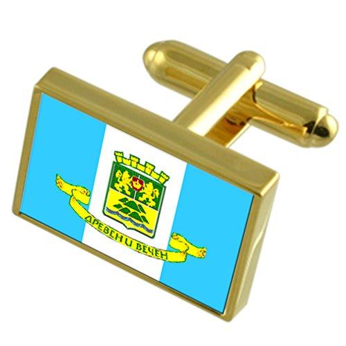 Select Gifts La città di Plovdiv Bulgaria Bandiera d'oro gemelli