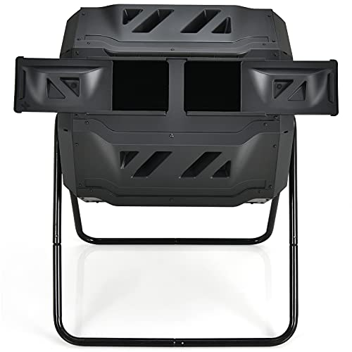 COSTWAY-Tumbling-Composter-Garden-Compost-Bin-with-Dual-Rotating-Chambers-and-Sliding-Doors-Easy-and-Fast-Composing-164-Litre-Capacity
