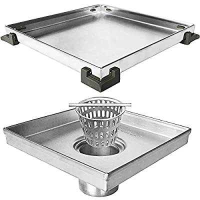 Neodrain Square Shower Drain with Removable Tile insert Grate, 6-Inch, Brushed 304 Stainless Steel, With WATERMARK&CUPC Certified, Includes Hair Strainer