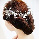IYOU nupcial boda pelo vid flor cristal tocados hoja diamantes de imitación boda diadema accesorios para el cabello para mujeres y niñas plata