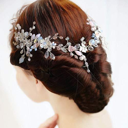 IYOU nupcial boda pelo vid flor cristal tocados hoja diamantes de imitación...