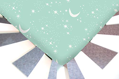 Little Moose by Liza Handmade Sheet Made to Fit Nuna Sena Mini Twinkly Phases (Mint Moon, Stars) This Sheet was Not Created or Sold by Nuna Sena.