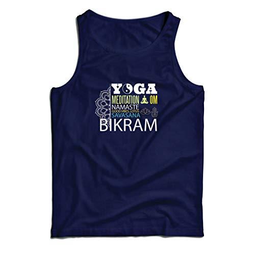 lepni.me Camisetas de Tirantes para Hombre Yoga Meditation Om Good Vibes Lotus Savasana Bikram (Large Azul Multicolor)