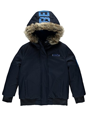 Bench Boy's Hooded Fur Bomber Jacket, Blue (Dark Navy Blue Ny031), 128 (Size: 7-8)