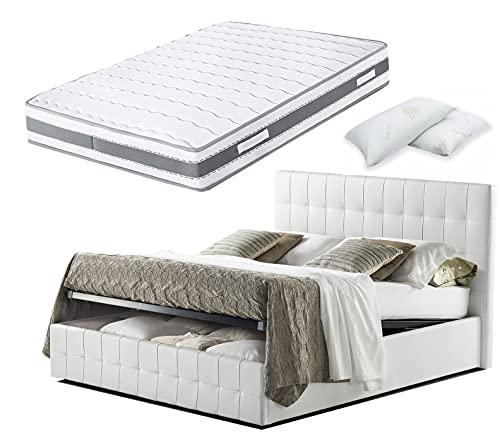 Cama de matrimonio con caja de almacenamiento de piel sintética blanca + colchón Fenice de 25 cm con muelles ensacados y memoria + almohada de regalo