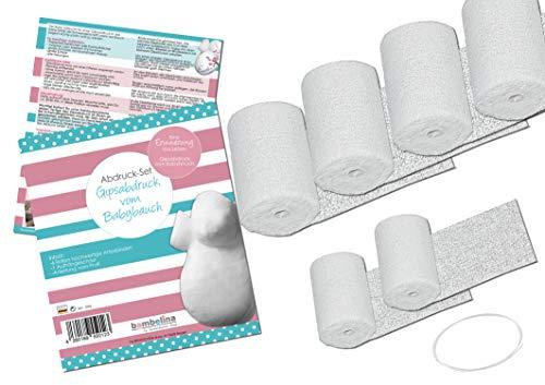 bambelina Gipsabdruck Bauchabdruck Set vom Babybauch, mit Aufhängung Halterung Bauchmaske Gipsbinden Gips Artex Artexbinden Babybauchabdruck Abformung Baby Bauch