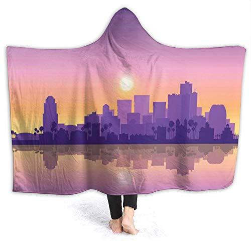 Manta portátil para hombres y mujeres, American Phoenix City Skyline At Dawn Time Sunset dramatic Scenery, súper suave y cálida manta con capucha de 152 x 132 cm