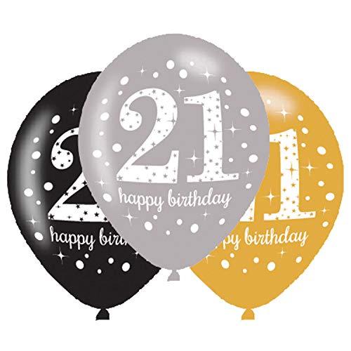 amscan 9900737 6 Ballons 21 Sparkling, Schwarz, Silber, Gold