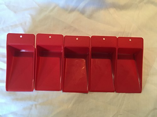 5 Tupperware Flat Scoop Canister Scoops Red