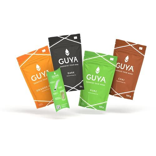 Bio Guayusa Tee Probierpaket + Teesieb (PURE, DARK, ORANGE-MINT, CHAI) | 4x 100g | Energize Your Mind | Kaffee Alternative | Natürliches Koffein, L-Theanin, Theobromin & Theophyllin