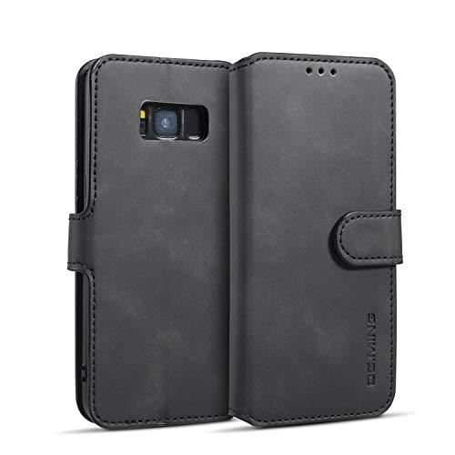 zanasta Echt Ledertasche kompatibel mit Huawei Y5 2019 Hülle Premium Leder Tasche mit Kartenfächern, Schutzhülle Schwarz