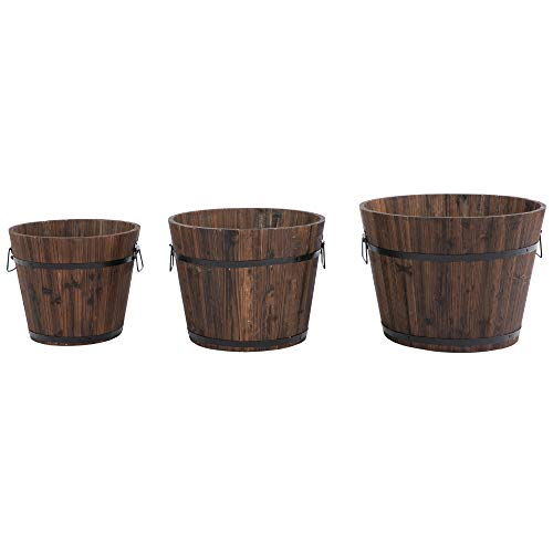 Outsunny Set di 3 Vasi Secchielli per Piante Fiori n Legno di Diverse Dimensioni, Vasi da Giardino e per Interni