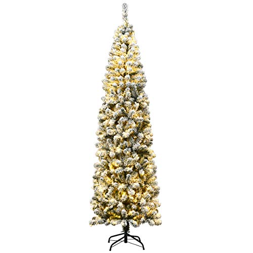 Goplus 7.5FT Artificial Snow Flocked Christmas Tree, Pre-Lit Hinged Pencil Tree with LED Lights and Metal Stand, Slim Xmas Tree for Holiday Decor