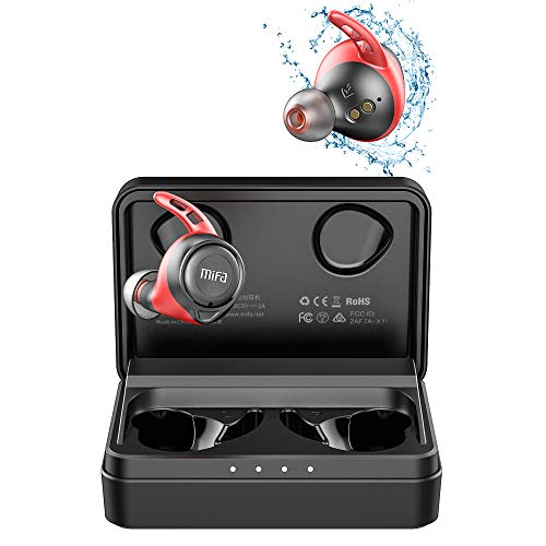 True Wireless Earbuds, MIFA X11 in-Ear Bluetooth 5.0 Headset, IPX7 Waterproof Sport Headphones Earphones APTX, 100 Hrs Playtime, CVC8.0 Mic for Phone Call, Red & Black