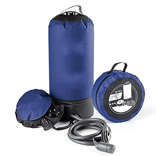 WXJWPZ Bolsa de Ducha Inflable de 11L con Bomba de Pie, Bolsa de Agua de Baño a Presión para Viajes Al Aire Libre, Senderismo, Camping, Playa, Lavado de Coches, Herramientas