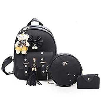 Smart Choice 3-PCS Fashion Cute Stylish Leather Backpack & Sling Bag Set for Women, School & College Girl's (Free Mask)