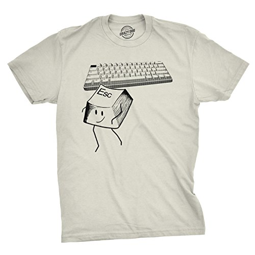 Crazy Dog T-Shirts Mens Escape Key Tshirt Funny Nerdy Computer Keyboard Tee for Guys (Ivory) - M