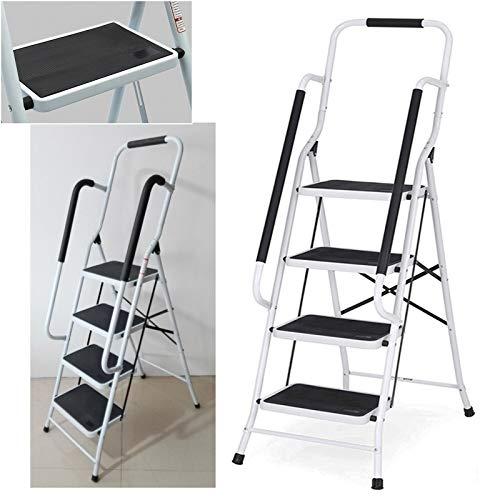 Trittleiter 4 Stufen mit Haltegriff Klappbar Stahl Klappstufen Haushaltsleiter Klapptritt Stufenleiter platzsparend, bis 150 kg belastbar