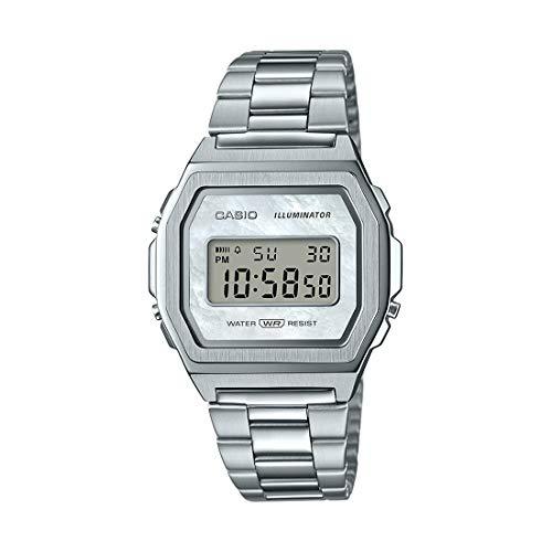 Casio Unisex Digital Quarz Uhr mit Edelstahl Armband A1000D-7EF