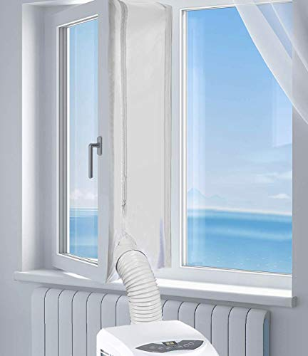AirLock Window Seal for Portable Air Conditioner, 400 cm Flexible Cloth Sealing Plate Window Seal with Zip and Adhesive Fastener for Mobile Air-Conditioning Units