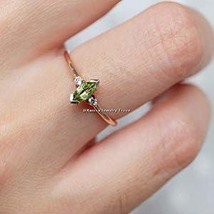 August Birthstone Ringe-Grüne Edelsteinringe-Marquiseschliff Peridot, Cz Ringe-925 Sterling Silber Ringe für Damen-18…