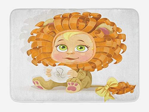 N\A Alfombrilla de bao Zodiac Leo, beb de Dibujos Animados Coloridos con un Disfraz de len con una astrologa del horscopo Leo, Felpa Decorativa para el bao con Respaldo Antideslizante
