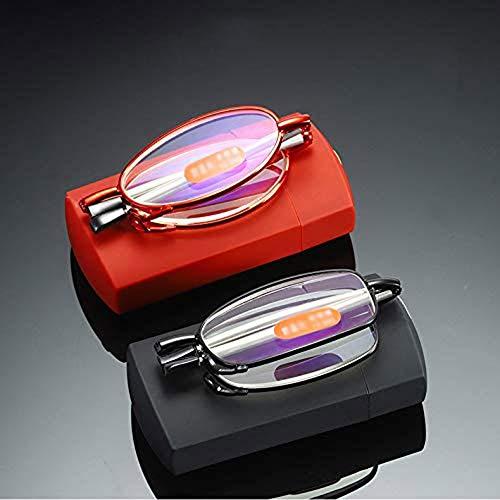 Outech Gafas de Lectura con Filtro Anti Luz Azul, Gafas para Leer Plegables, Templos Retráctiles, Rojo y Negro, 2 PCS