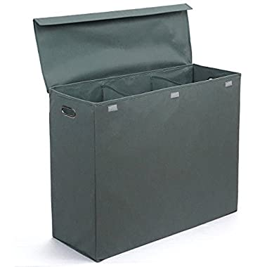 Three Compartment Laundry Hamper with Stiff Sides, Lid, and Metal Handles by Rhine House