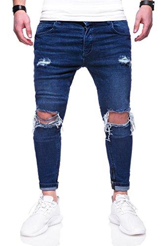 Rello & Rees Herren Destroyed Jeans Hose JN-3299 [Dunkelblau, W32/L32]