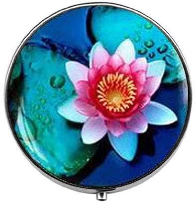 Pastillero de flor de loto budista, caja de pastillas, caja de cristal...