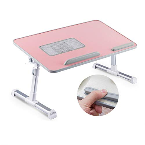 Laptop Bed Tray Table, Adjustable Laptop Bed Table, Foldable Lap Tablet Table for Sofa Couch Floor,Coolable Desktop,Tilting Top, for Breakfast Serving Tray Table, Writing,Eating(Color:C)