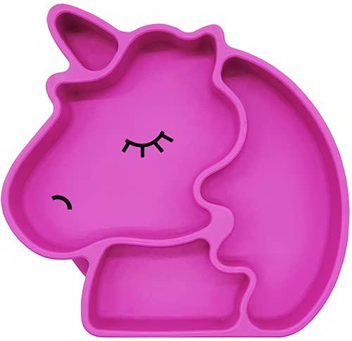 Kidoo - Plato Infantil de Silicona - Vajilla de Bebé Antideslizante   100% Libre de BPA - Aprobado por la FDA - Base Adherente - Apto para Lavavajillas y Microondas - No Tóxico (Rosa, Unicorni