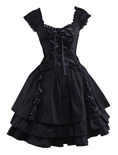 Ainclu Womens Classic Black Layered Lace-up Cotton Lolita Dress L