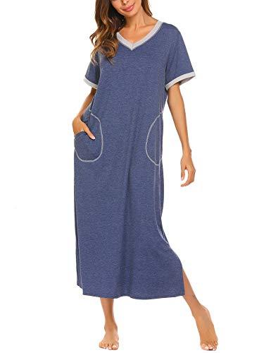 Damen Nachthemd Baumwolle still pyjama lang weich frauen schlafkleid V-Ausschnitt Nachtkleid sommer, Gr.-44,6619_Blau, XXL