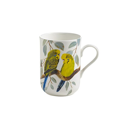 Maxwell & Williams PBW1508 Birds of the World Becher, Kaffeebecher, Tasse mit Vogelmotiv: Wellensittich, in Geschenkbox, Porzellan