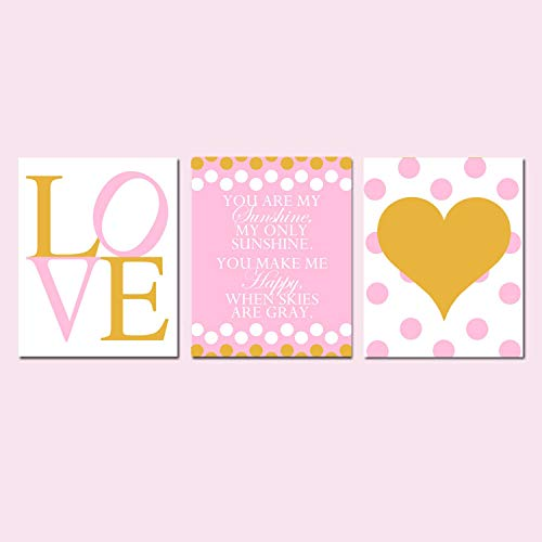 Scott397House Canvas Wall Art Prints for Girl Pink and Gold Nursery Pink and Gold Nursery Gold and Pink Nursery Room Decor Ready to Hang Printing Gift for Home Decoration 8x12, 3 Panels
