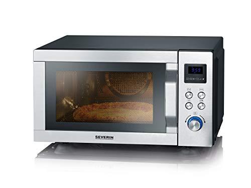 SEVERIN MW 7759 - Microondas 4 en 1 con doble grill, mini horno con función Pizza-Express, microondas con grill y función de aire caliente hasta 230 °C, acero inoxidable, color negro mate