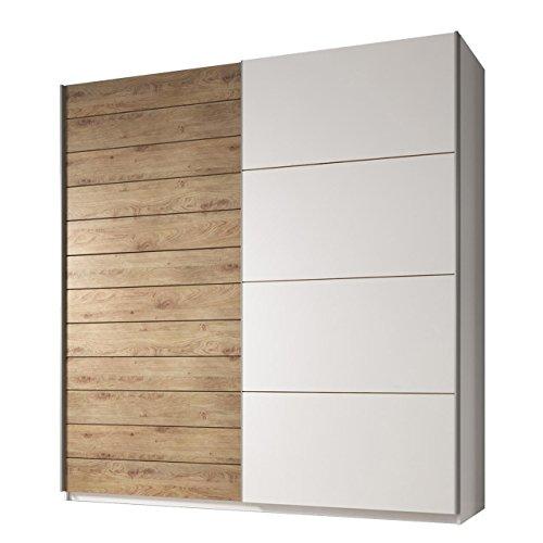 Schwebetürenschrank Galaxy II, Modernes Schlafzimmerschrank, 3 Größe, Hochwertiges Kleiderschrank für Schlafzimmer, Jugendzimmer, Schiebetür, Garderobe (EA17: 200x210 cm, Weiß/Beaufort Eiche + Weiß)