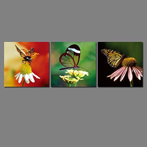 GySS 3 panelen, bloem en vlinder, doek, muurschildering, wanddecoratie, groot canvas, vlinder, olieverfschilderij