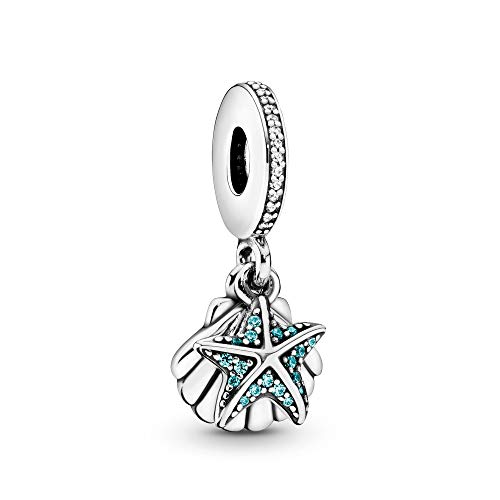 Pandora Jewelry Starfish and Sea Shell Dangle Cubic Zirconia Charm in Sterling Silver