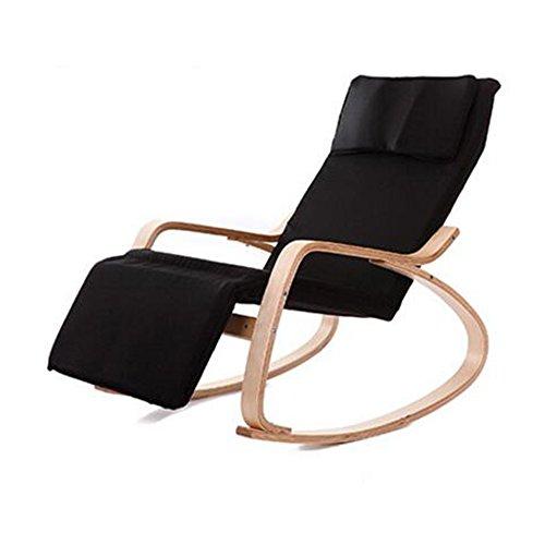 Chair Zhaizhen Chaise longue à bascule en bois massif pour balcon, intérieur et extérieur Couleur : noir