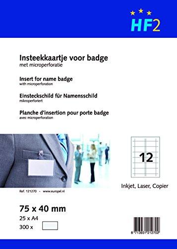 HF2 121270-300 Tarjetas de visita precortadas, A4, microperforadas, 75x40mm, 180g/m², blanco