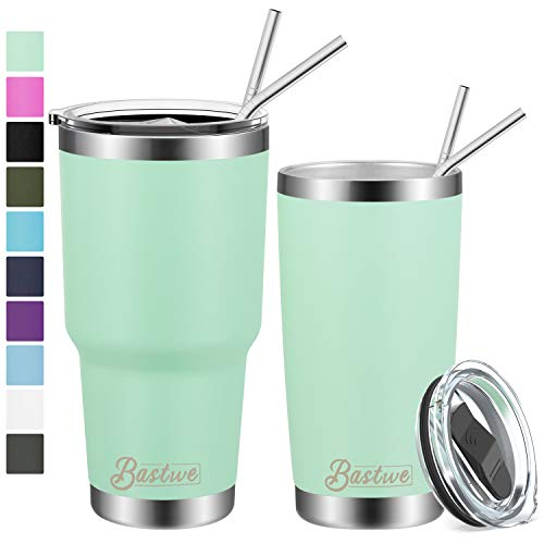 20oz and 30oz Stainless Steel Tumblers with Straws, Bastwe Double Wall Vacuum Insulated Travel Mug, Coffee Cup for Home, Office, School, Works Great for Ice Drink, Hot Beverage (2 Pack, Seafoam)