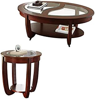 Steve Silver London 2 Piece Glass Top Coffee Table and End Table Set in Brown