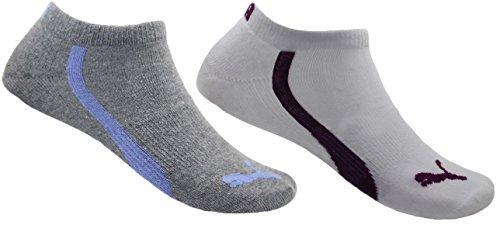 Puma Women's 6 Pack Low Cut Terry Ankle Socks Sock Size 9-11 Shoe Size 5-10 (White/Dk. Grey/Blue) -  888435021377