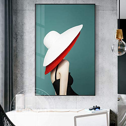 tzxdbh Elegante en sierlijke meisjes muurkunst canvas schilderij Mooie gele jurk en wit-rode kap wandafbeeldingen voor de woonkamer gang 50x50cm No Frame Style-4