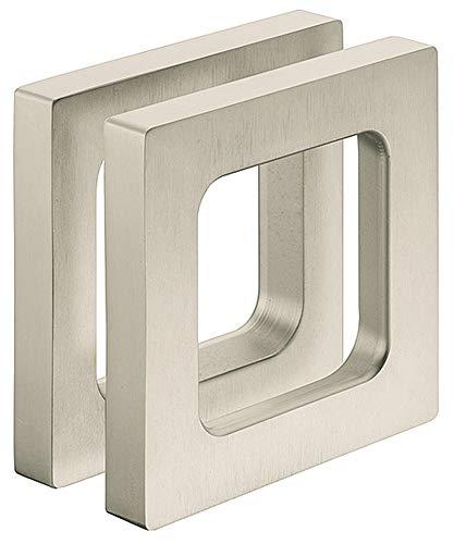 Gedotec Design Möbelgriff Edelstahl Glastürgriff zum Kleben Muschelgriff eckig für Glastüren - H3695 | Griffmuschel zum Aufkleben | 75 x 75 x 10 mm | 1 Stück - Türgriff für Schiebetüren & Zimmertüren